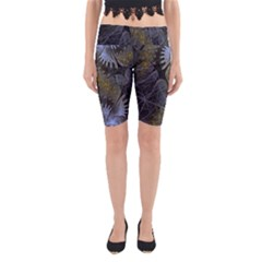 Fractal Wallpaper With Blue Flowers Yoga Cropped Leggings