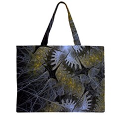 Fractal Wallpaper With Blue Flowers Large Tote Bag