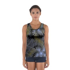 Fractal Wallpaper With Blue Flowers Women s Sport Tank Top