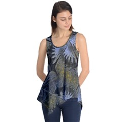 Fractal Wallpaper With Blue Flowers Sleeveless Tunic