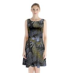 Fractal Wallpaper With Blue Flowers Sleeveless Chiffon Waist Tie Dress