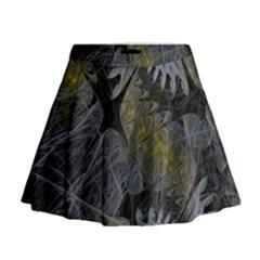 Fractal Wallpaper With Blue Flowers Mini Flare Skirt