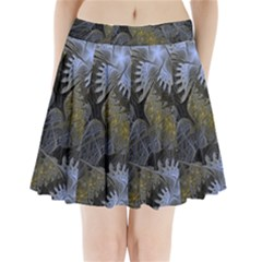 Fractal Wallpaper With Blue Flowers Pleated Mini Skirt