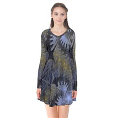 Fractal Wallpaper With Blue Flowers Flare Dress