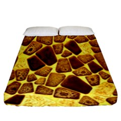 Yellow Cast Background Fitted Sheet (king Size)
