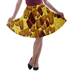Yellow Cast Background A Line Skater Skirt
