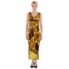 Yellow Cast Background Fitted Maxi Dress