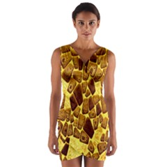 Yellow Cast Background Wrap Front Bodycon Dress