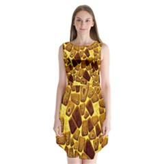 Yellow Cast Background Sleeveless Chiffon Dress