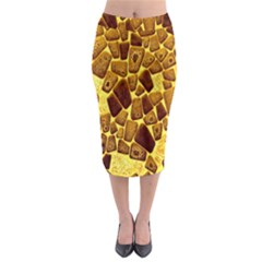 Yellow Cast Background Midi Pencil Skirt