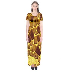 Yellow Cast Background Short Sleeve Maxi Dress