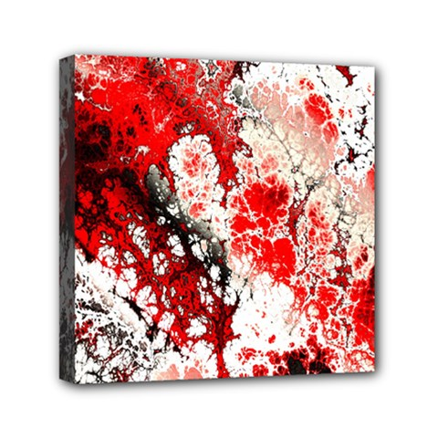 Red Fractal Art Mini Canvas 6  x 6