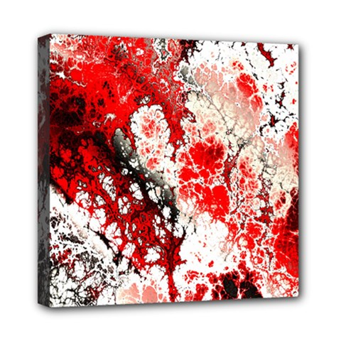 Red Fractal Art Mini Canvas 8  X 8
