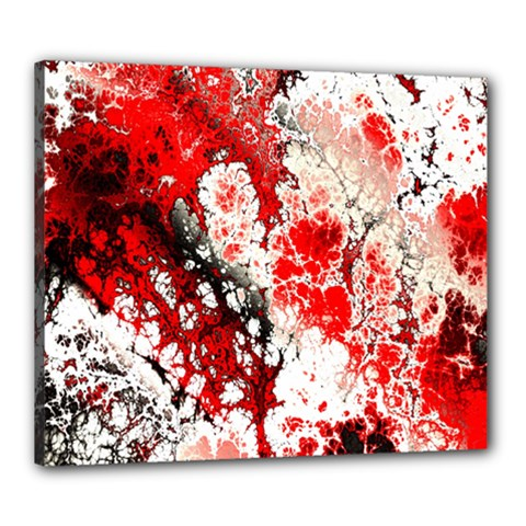 Red Fractal Art Canvas 24  X 20