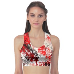 Red Fractal Art Sports Bra