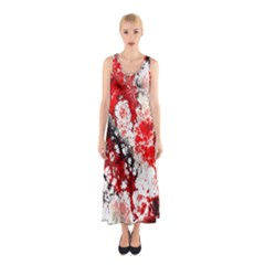 Red Fractal Art Sleeveless Maxi Dress