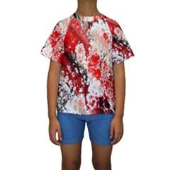 Red Fractal Art Kids  Short Sleeve Swimwear