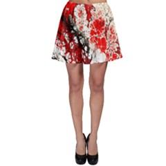 Red Fractal Art Skater Skirt