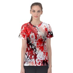 Red Fractal Art Women s Sport Mesh Tee