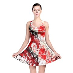 Red Fractal Art Reversible Skater Dress