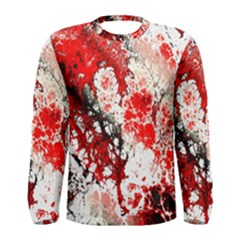 Red Fractal Art Men s Long Sleeve Tee
