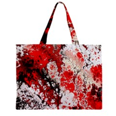 Red Fractal Art Zipper Mini Tote Bag
