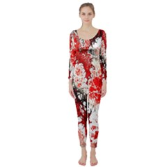 Red Fractal Art Long Sleeve Catsuit