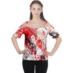 Red Fractal Art Women s Cutout Shoulder Tee