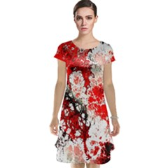 Red Fractal Art Cap Sleeve Nightdress