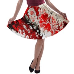 Red Fractal Art A Line Skater Skirt