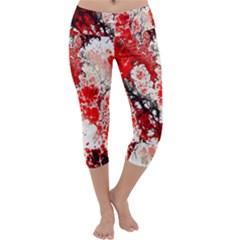 Red Fractal Art Capri Yoga Leggings