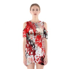 Red Fractal Art Shoulder Cutout One Piece