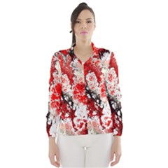 Red Fractal Art Wind Breaker (women)