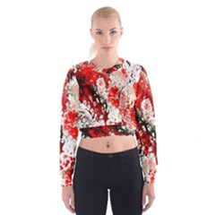 Red Fractal Art Women s Cropped Sweatshirt