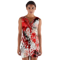Red Fractal Art Wrap Front Bodycon Dress