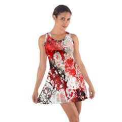 Red Fractal Art Cotton Racerback Dress