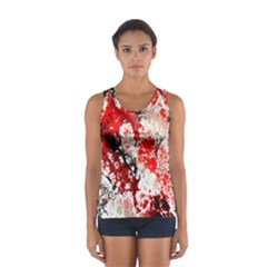 Red Fractal Art Women s Sport Tank Top