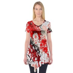Red Fractal Art Short Sleeve Tunic