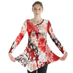 Red Fractal Art Long Sleeve Tunic