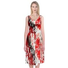 Red Fractal Art Midi Sleeveless Dress