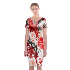Red Fractal Art Classic Short Sleeve Midi Dress