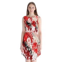 Red Fractal Art Sleeveless Chiffon Dress
