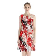 Red Fractal Art Sleeveless Chiffon Waist Tie Dress