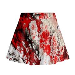 Red Fractal Art Mini Flare Skirt