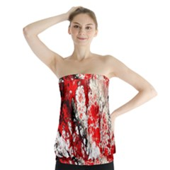 Red Fractal Art Strapless Top
