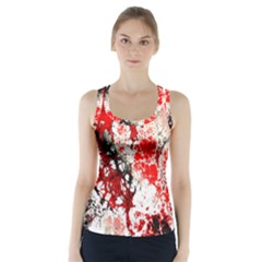 Red Fractal Art Racer Back Sports Top