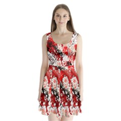 Red Fractal Art Split Back Mini Dress