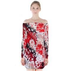 Red Fractal Art Long Sleeve Off Shoulder Dress