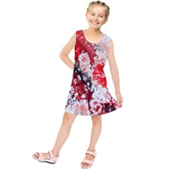 Red Fractal Art Kids  Tunic Dress