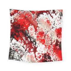 Red Fractal Art Square Tapestry (small)